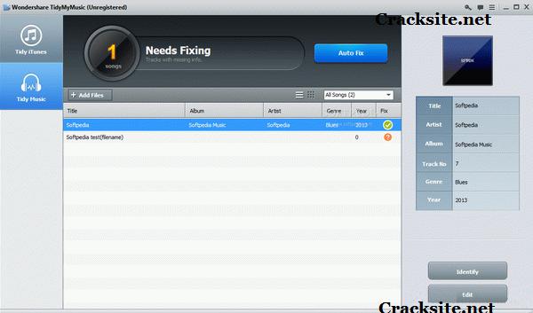 Wondershare TidyMyMusic Crack 9.0.7.4 + Serial Key Download